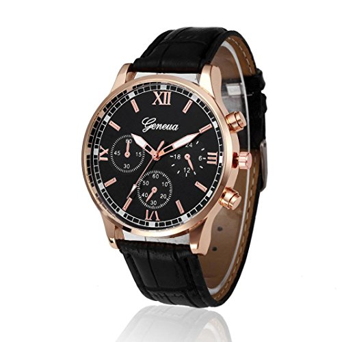 Preisvergleich Produktbild Uhren DAY.LIN Retro Design Lederband analoge Legierung Quarz-Armbanduhr (Schwarz)