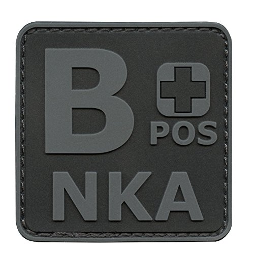 Image of Blackout ACU BPOS B+ NKA Blood Type No Known Allergies Subdued Morale PVC Rubber Hook-and-Loop Patch