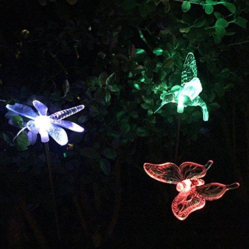 3 Estacas con luces LED cambiacolor a energía solar en forma de libélula, mariposa y colibrí de Lights4fun