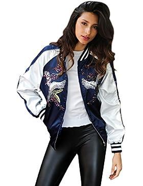 Simplee Apparel Women 's Casual Loose de raso bordado chaqueta Varsity Baseball floral
