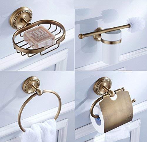 KYQ KYQXDB Badezimmer-Zubehör WC-Bad Klassisches Design Antikes Bronze Badezimmer-Set 4 Stück Kupferseife Geschirrtuch Ring Papierhalter WC-Bürstenhalter - Antik-ring-set