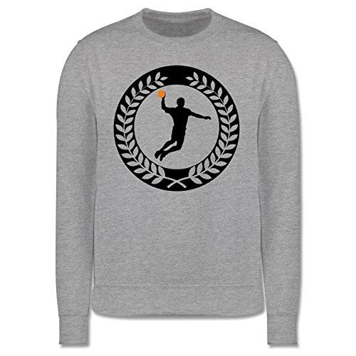 Handball - Handball Sichel Kranz - Herren Premium Pullover Grau Meliert