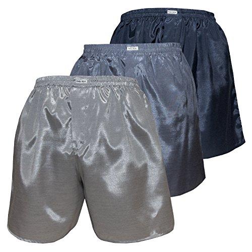 3er Mischen Herren Comfort Nachtwäsche Unterwäsche Thai Silk Boxershorts (L, Silber Grau Marineblau)