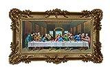 Barock Gemälde Bild mit Rahmen Repro Antik look Jesus 12 APOSTEL ULTIMA CENA 96x57cm (Gold)