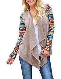 Zhousansui Strickjacke Lange Strickjacke Damen Long Sleeve Striped  Strickpullover Mantel Asymmetric Shirt Jacket… 8b18d9d79a