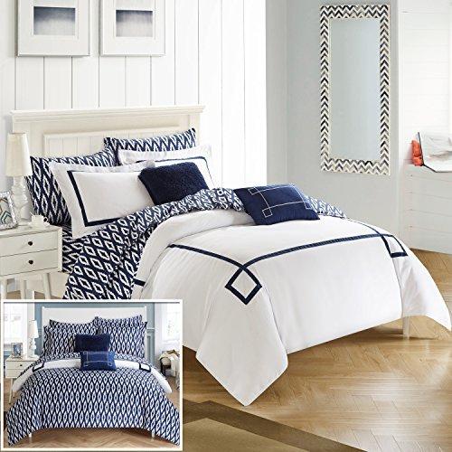 Chic Home cs2935-an 9Stück Trace modernes Griechischer Schlüssel bestickt wendbar Bett in einem Beutel Tröster Set mit Tabelle Set, King, Marineblau (Moderne Bett In Einem Beutel)