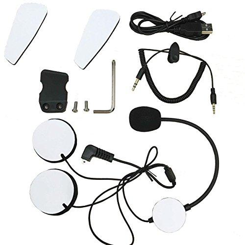 Intercom moto/intercom moto pour 2 casques.Accessoires - Écouteurs Micro, câble audio, câble de chargement, clip de fixation et Kits de Velcro