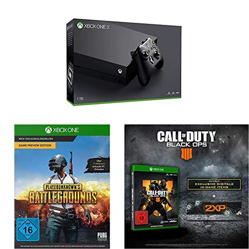 Xbox One X 1TB Konsolen Bundle + Playerunknown's Battlegrounds [Xbox One] + Call of Duty: Black Ops 4 Standard Plus Edition [Xbox One]