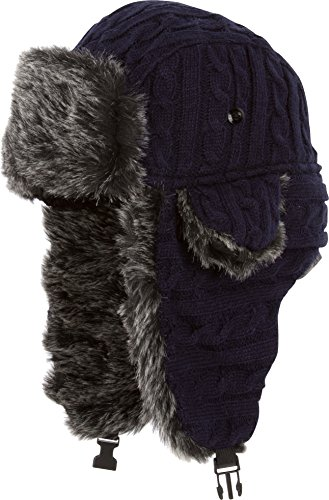 Mütze-liner Stricken (Sakkas CCH1514 - Sakkas Turner Unisex Strickripp mit Kunstpelzfutter Kinnriemen Winter-Trooper-Hut - Navy - One Size Regular)