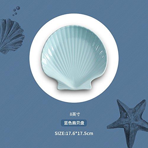ren Schalen Keramik Geschirr Schüssel Nudeln Suppe Schüssel Fruit Salat Schalen, SCALLOPS in blau (20,3cm) (Essen Für Ein Luau)