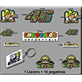 Pegatinas Y Llavero 46 Valentino Rossi The Doctor AM10 Stickers and Key Ring AUFKLEBER VINILOS ADESIVI Decals