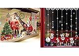COSORO 3Pack DIY Weihnachten Wandaufkleber - Weihnachtsmann Weihnachtsbaum und Weihnachten Schnee Ball Wandaufkleber Wandbilder für Shop Home Wand Fenster Weihnachten Aufkleber Dekorationen