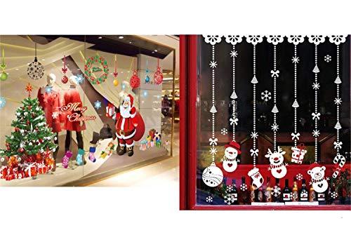 hnachten Wandaufkleber - Weihnachtsmann Weihnachtsbaum und Weihnachten Schnee Ball Wandaufkleber Wandbilder für Shop Home Wand Fenster Weihnachten Aufkleber Dekorationen ()