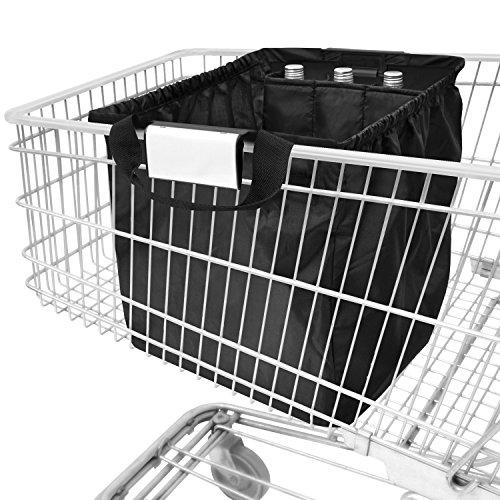 achilles Easy-Carrier, Faltbare Einkaufswagentasche mit Kühleinsatz und 3 Flaschenfächer, Einkaufstasche passend für alle gängigen Einkaufswagen, schwarz, 54x35x39 cm