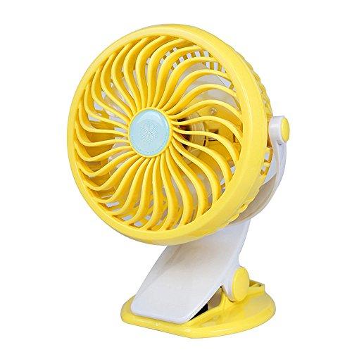 CLDGF USB-Ventilator, 360 ° Drehbarer Stufenloser Geschwindigkeitsregulierungs-Klipp-Art Ventilator, Passend Für Baby-Wagen, Schlafzimmer, Büros, Etc,Yellow