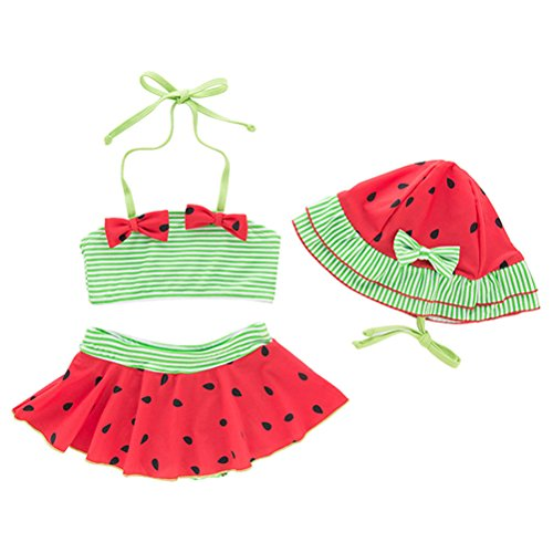 5fad39b77 ARAUS Niñas Traje de Baño Tres Piezas para Niña Cuello Halter para Bebé  Bikini Bañador Mameluco