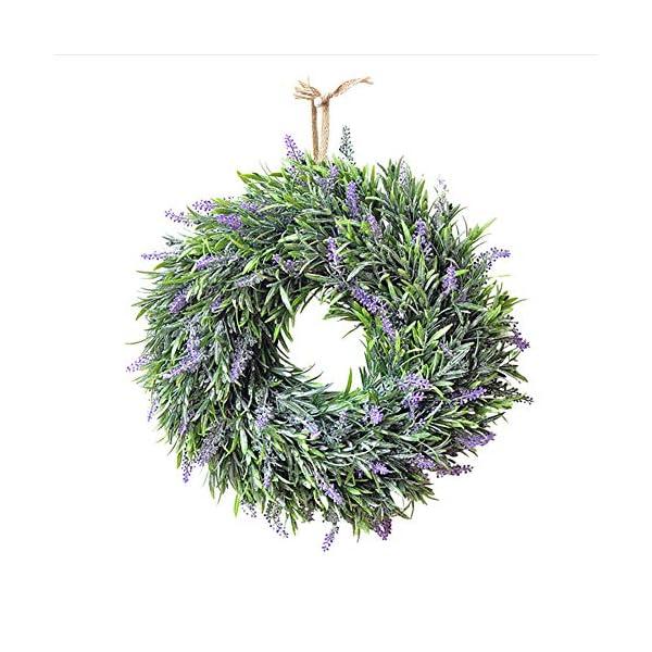 The Fellie Corona de flores artificiales de lavanda para bodas, fiestas, festivales, Navidad, decoración para puertas y…