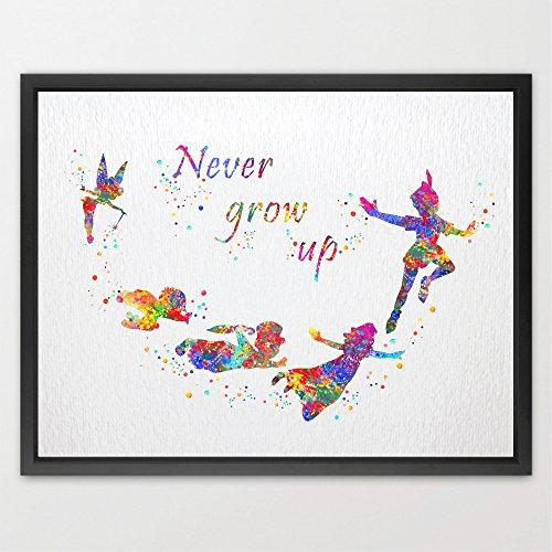 dignovel-studios-peter-pan-never-grow-up-quote-acquerello-art-print-poster-home-decor-bambini-stanza