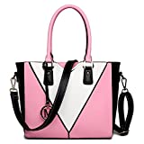 Miss Lulu Leather Look V-Shape Shoulder Handbag (Pink)