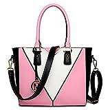 Miss Lulu Leather Look V-Shape Shoulder Handbag (Pink)