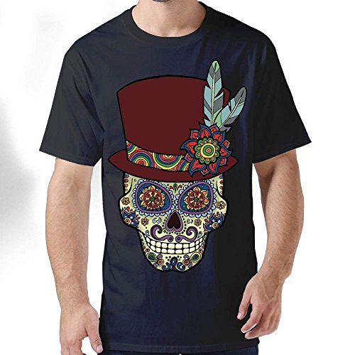 fboylovefor Sugar Skull Mexican Top Hat Men's Classic Short-Sleeve Crewneck Cotton T-Shirt -