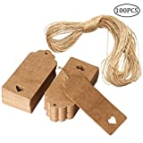 nuosen 100 Pieces Gift Tags, Kraft Paper Tags Rectangle Craft Hang Tags DIY Price Tags for Christmas Wedding with 20m Strin
