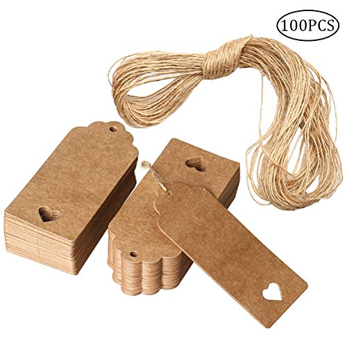 nuosen Pieces Gift Tags, Kraft Paper Tags Rectangle Craft Hang Tags DIY Price Tags for Christmas Wedding with String