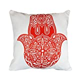 43 x 43cm The Hamsa Hand of Fatima Design - Red Cushion Pillow Outdoor Cover - for Sofa Bed Gift Home Decor Cushion