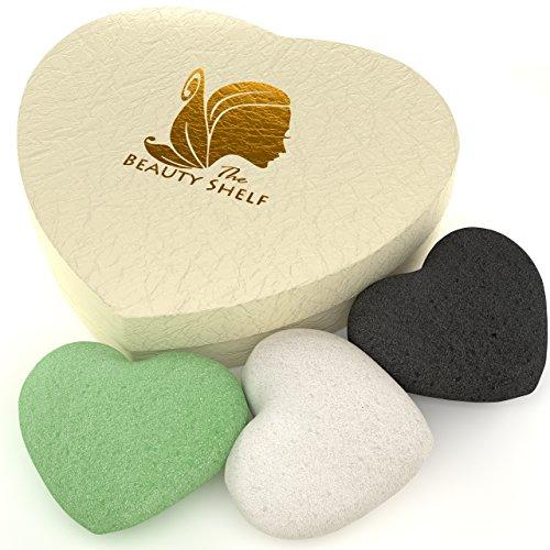 The Beauty Shelf Lot de 3 éponges konjac charbon, thé vert & naturelle, nettoyant visage & exfoliant beauté