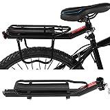 SOULONG Portapacchi Bici Regolabile al Sedile Posteriore, Post Rack Carrier per Bicicletta Ciclismo Mountain Bike, Rack Universale in Alluminio, con Riflettore, Portata 10KG