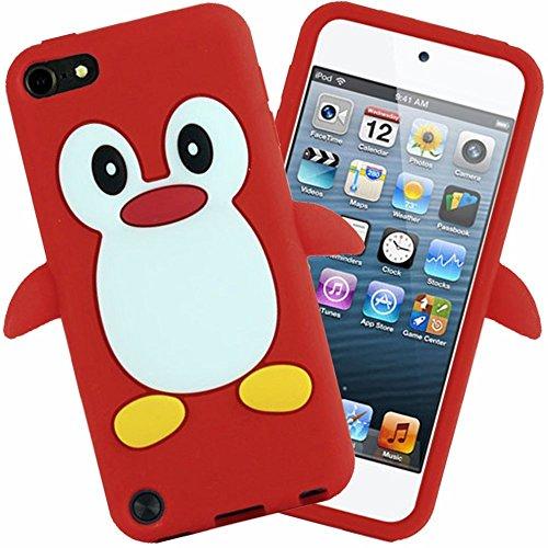 Tsmine Apple Ipod Touch 5. und 6. Generation Pinguin Cartoon Case - Cute 3D Penguin Soft Silikon zurück waschbar Cover Case Schutzhülle für iPod Touch 5. & 6. Generation, rot (Silikon 3d Ipod 5 Fällen)
