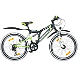 24 Zoll MTB Fully Galano Adrenalin DS Mountainbike STVZO Jugendfahrrad B-WARE, Farbe:schwarz / grün