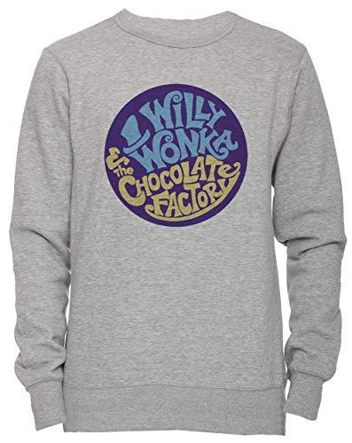 Erido Willy Wonka and The Chocolate Factory - Gene Wilder Unisex Herren Damen Jumper Sweatshirt Pullover Grau Größe S Men's Women's Jumper Grey Small Size ()