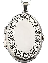 Alylosilver Collar Colgante Guardapelo Oval de Plata con Cenefa para Mujer - Incluye una Cadena de Plata de 45 cm y un Estuche para Regalo