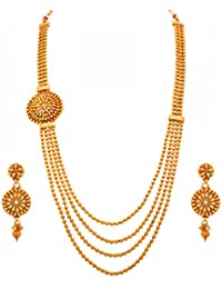 JFL - Traditional Ethnic Multi Strand Gold Bead One Gram Gold Plated Designer Long Necklace Set For Girls And...