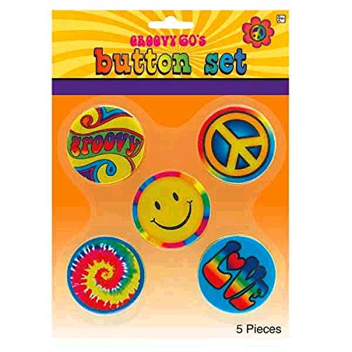 arty Hippie Button Pins (5 Pack), Multi Color, 9.7 x 7