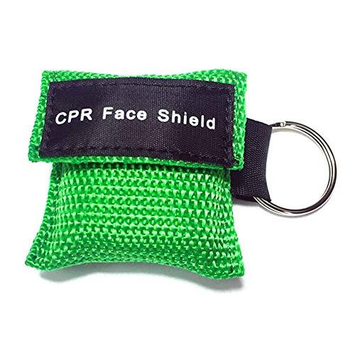 CALISTODE Beatmungsmaske Schlüsselanhänger CPR Maske Beatmungshilfe Taschenmaske Erste Hilfe (grün) - Cpr-maske