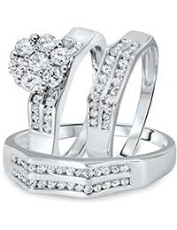 Silvernshine 1 1/10 Ct. Diamond Engagement Wedding Matching Trio Ring Sets 14K White Gold Fn