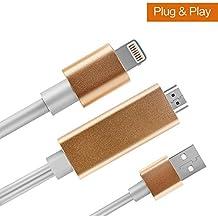 Lightning a Cable HDMI, compatible con iOS 11.06,6m, 1080p mismo atetion Protector de dispositivo de conversión de conector HDMI cable de vídeo AV HDTV adaptador para iPhone 7/6/5Serie, Pad Air/Mini/Pro, iPod Touch
