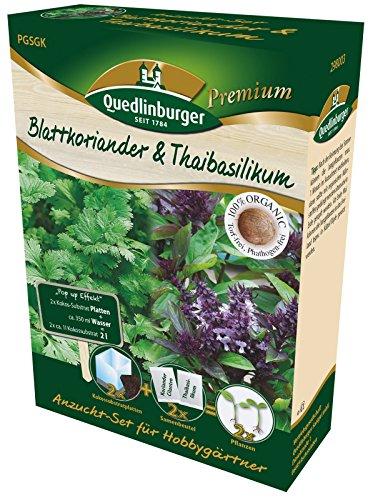 Quedlinburger 298003 Premium Anzuchtset Blattkoriander & Thaibasilikum, torffrei Kokossubstrat Arabische Gerichte-set