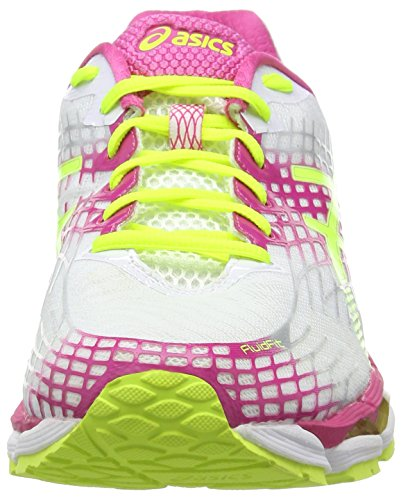 Asics Gel-Nimbus 17, Scarpe sportive, Donna Bianco (White/Flash Yellow/Hot Pink 0107)