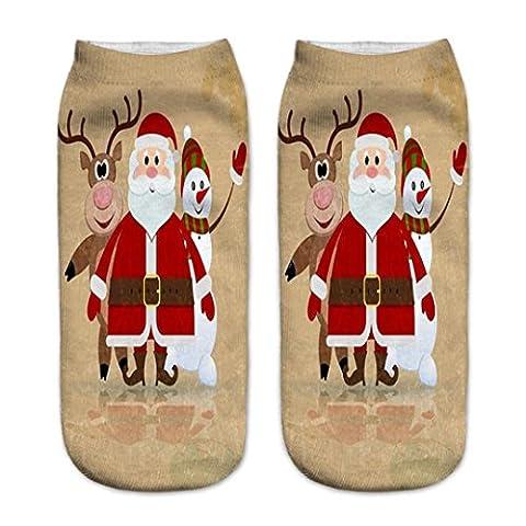 Chaussettes Femme, Koly 3D Cartoon Chaussettes De NoëL Femmes Chaussettes En Coton éTage (19cm, G)
