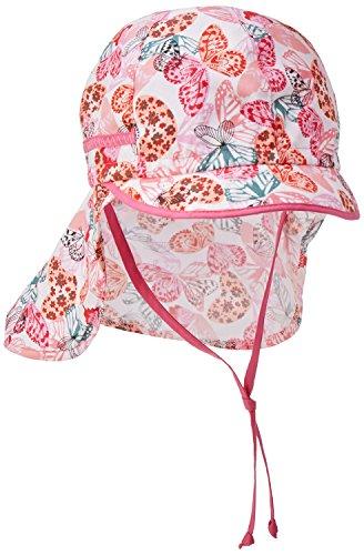 maximo Mädchen Mütze Schildmütze, Nackenschutz, Bindeband, Mehrfarbig (Begonie-Lilac-Schmetterling 32), 53