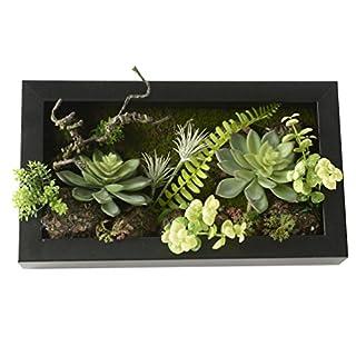3D Wandhalter Künstliche Blumen Metope Sukkulenten in Quadrat Holzrahmen für Hauptdekoration 7,87 * 13,78 Zoll