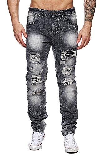 MEGASTYL Herren Hose Acid-Washed Destroyed Jeans Schwarz Grau Slim-Fit Skinny 5-Pocket Baumwolle, GRÖSSE:W31 / L32