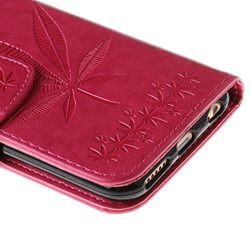 iPhone 6 Ledertasche, Aeeque® iPhone 6S Lila Brieftasche Flip Case Cover,[Schick Henna Blumen Muster] Kartenfach Standfunktion Handytasche für iPhone 6/6S mit Abnehmbar Handy Lanyard und Weich Silikon Ahornblatt Hot Pink