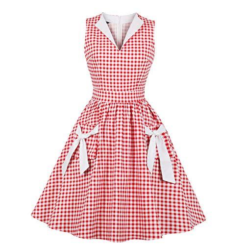 Wellwits Robe de balançoire Vintage pour Femme Col en V Poche à Carreaux années 1940 - Rouge - 40/42
