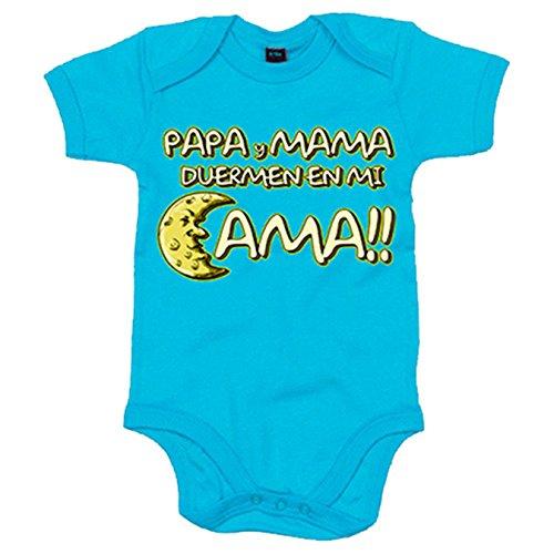 Body bebé Papá y mamá duermen en mi cama - Celeste, 6-12 meses