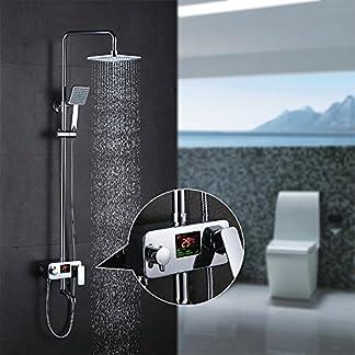 HOMELODY LCD Pantalla Hidroeléctrica Pantalla Columna de ducha Conjunto de Ducha con Barra Set de ducha Sistema de ducha Grifo de ducha Alcachofa de ducha Agua Fría y caliente Plateado