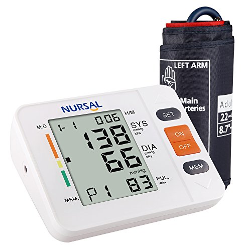 Nursal Monitor digital de presión arterial para el brazo con indicador WHO Indicador de pantalla LCD para 2 usuarios (almacenamiento de 2*90), electrónico y automático (Pulsera de 22-42 cm)